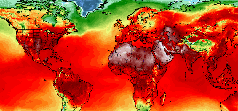 Simulation of maximum temperatures on July 3 from American (GFS) weather model at two meters above the ground