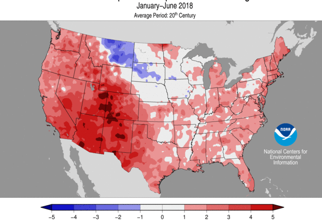 The first half of 2018 was the 14th warmest January-June on record. (Source: Actual data)