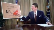 Then-President Ronald Reagan uses a graph to highlight the alleged benefits of his supply-side economics plan, yet the upward red-shaded trend in his graph is prescient in terms of rising global temperatures