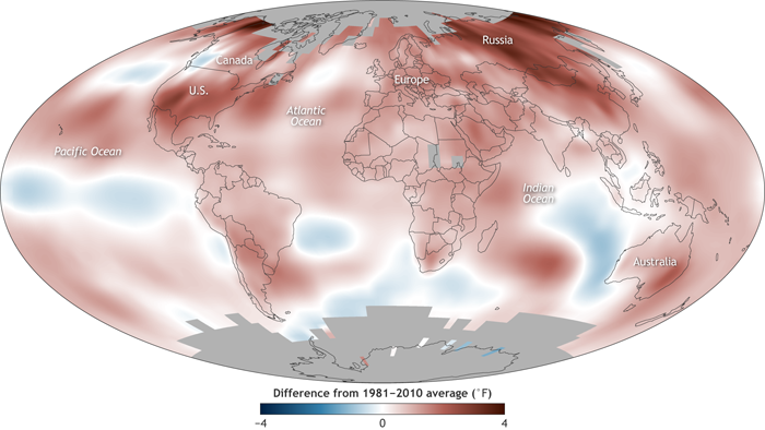 Global surface temperature in 2017 compared to the 1981-2010 average. High latitudes of the Northern Hemisphere were especially warm, though temperatures across most of the planet were warmer than average (red colors). NOAA Climate.gov map, based on data from NOAA NCEI.