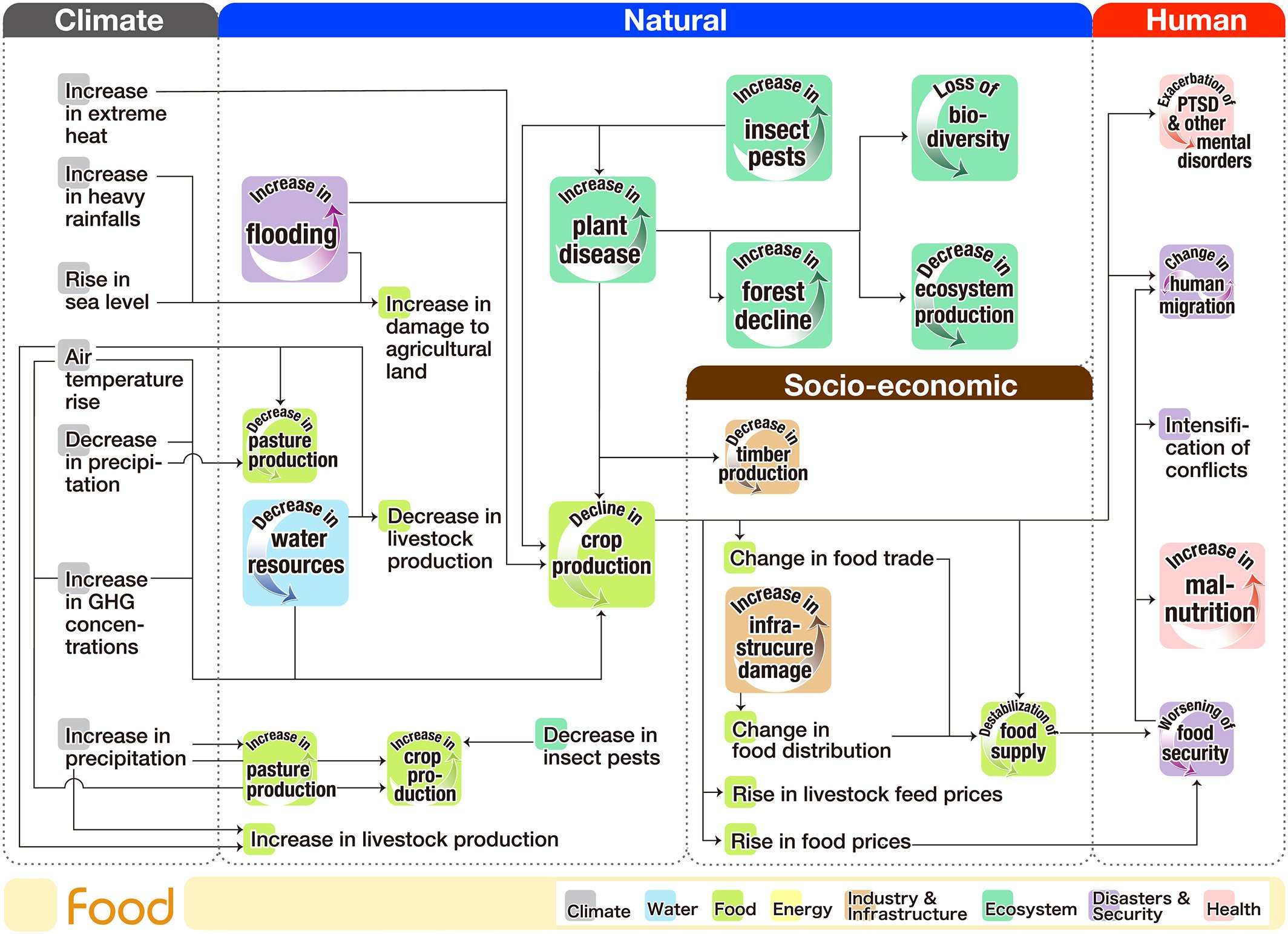 Flowchart of climate risk interconnections related to the food sector. (Source: Yokohata et al, 2019)