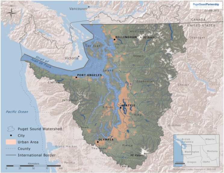 The Puget Sound watershed stretches from the Olympic Peninsula to the Cascade Mountains.