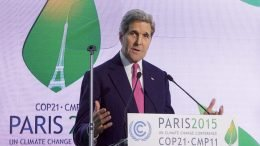 "John Kerry at the 21st United Nations Climate Change Conference of the Parties (COP21) in Paris. Kerry helped broker the ""Paris Agreement,"" a global pledge to limit rising global temperatures."
