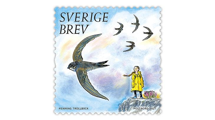 Swedish climate activist Greta Thunberg is featured on a Swedish environmentally themed stamp.