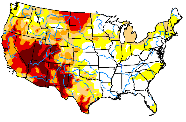 Drought intensity in the Continental U.S. as of April 27, 2021. The darkest regions indicate exceptional drought intensity, and yellow indicates abnormally dry. White-shaded areas have no drought intensity.